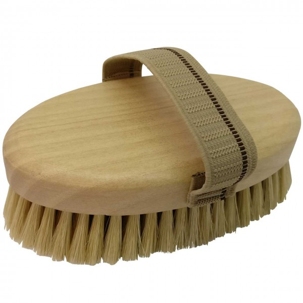 Massagebürste mit Naturborsten helles Holz
